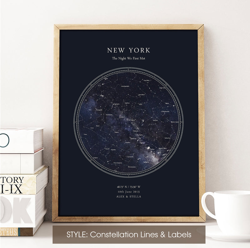 Personalised Star Map Print, Night Sky Print, Star Chart Poster or Canvas - Anniversary Gift - HDR BLUE CIRCULAR