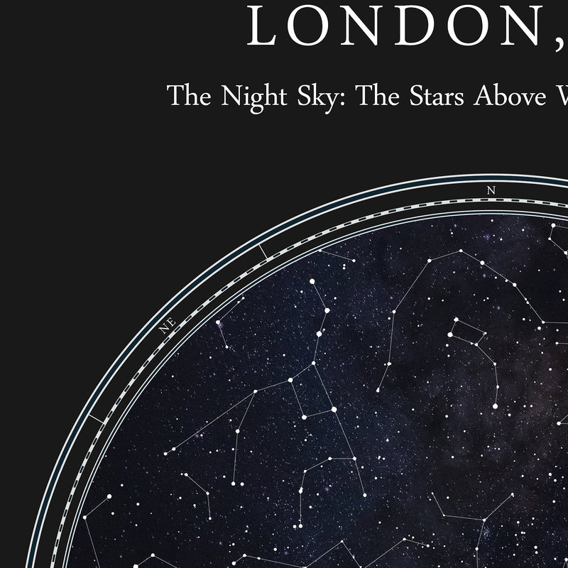 Custom Star Map Print, Night Sky Print, Star Chart Poster or Canvas - Anniversary Gift - HDR BLACK CIRCULAR