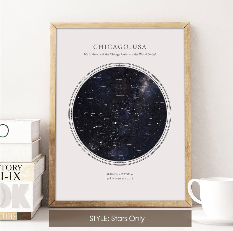 Personalised Star Map Print, Night Sky Print, Star Chart Poster or Canvas - Anniversary Gift - HDR WHITE CIRCULAR