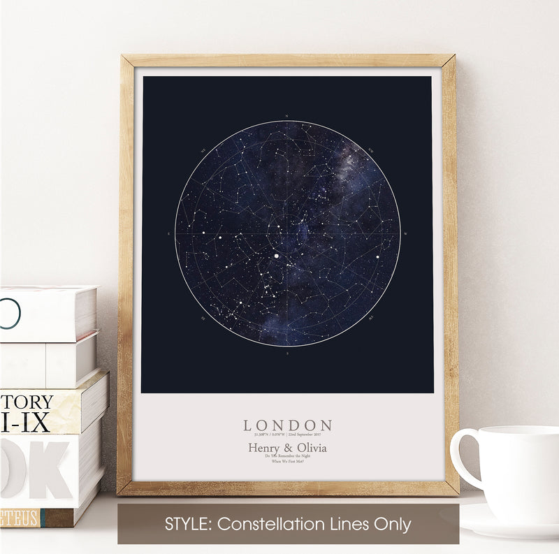 Personalised Star Map Print, Night Sky Print, Star Chart Poster or Canvas - Anniversary Gift - HDR BLUE SQUARE
