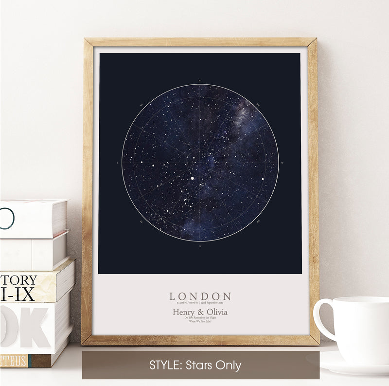 Custom Star Map Print, Night Sky Print, Star Chart Poster or Canvas - Anniversary Gift - HDR BLUE SQUARE