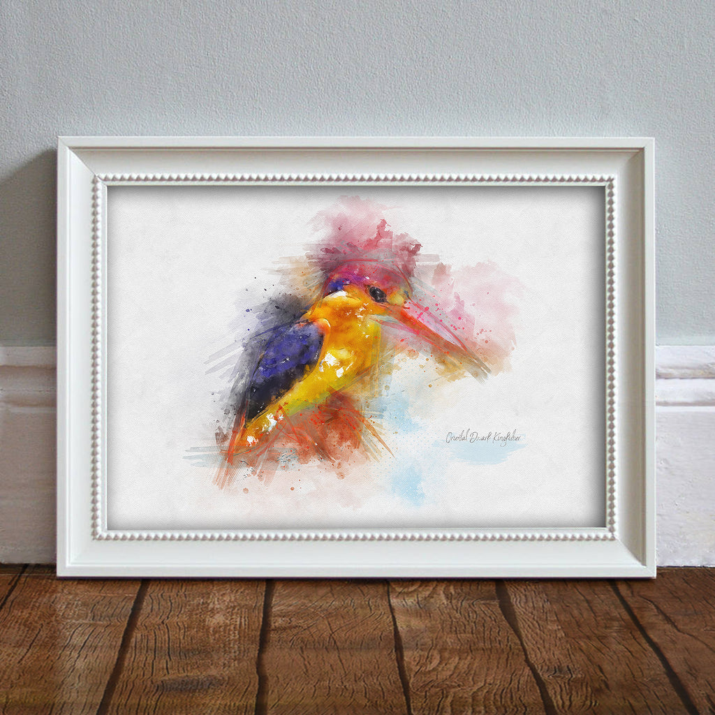 Kingfisher: Watercolor Illustration Wildlife Art Print