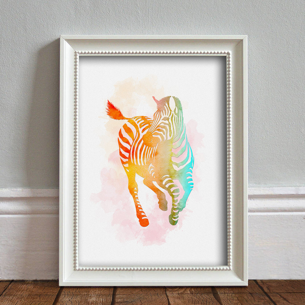 Zebra: Watercolour Print For Nursery, Home Décor - Africa Animal Illustration Series