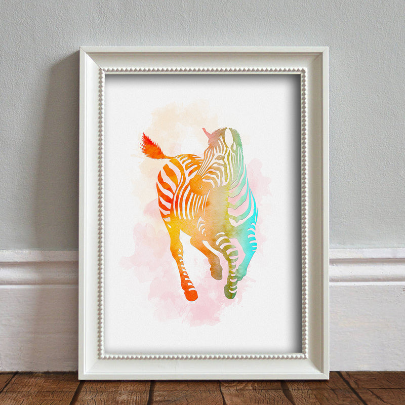Zebra: Watercolour Print For Nursery, Home Decor - Africa Animal Illustration Series