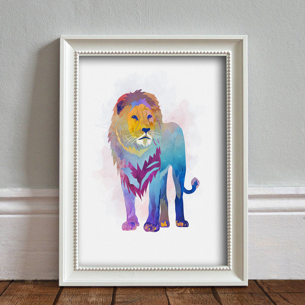 Lion: Watercolour Print For Nursery, Home Décor - Africa Animal Illustration Series