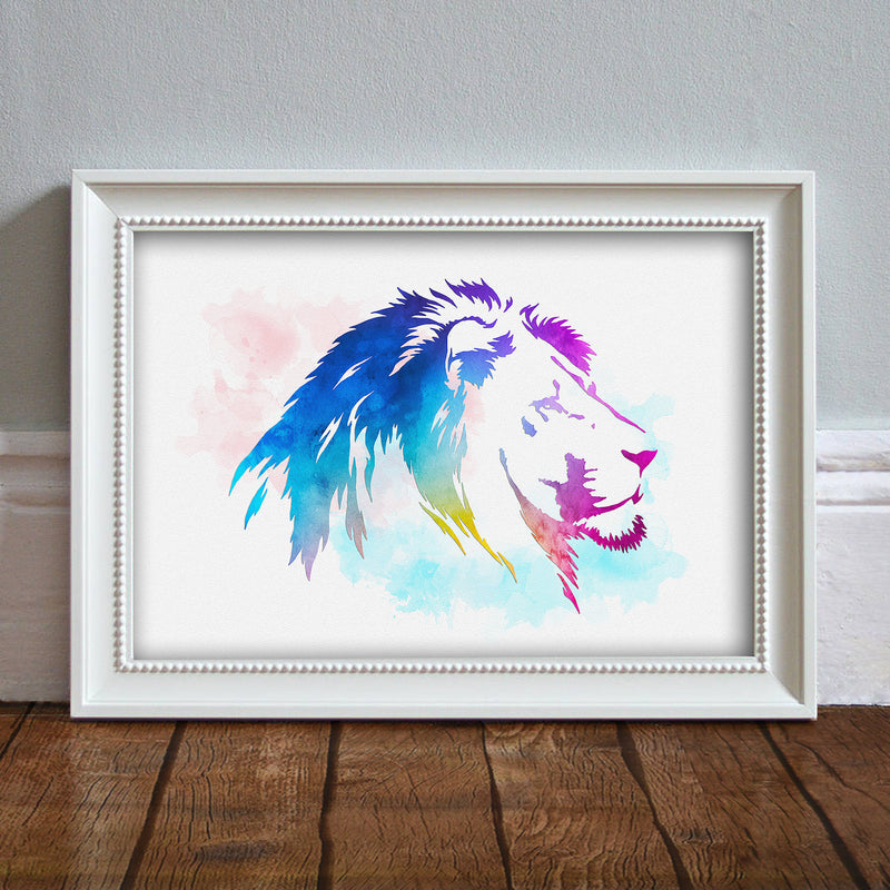 Lion Head: Watercolour Print For Nursery, Home Décor - Africa Animal Illustration Series