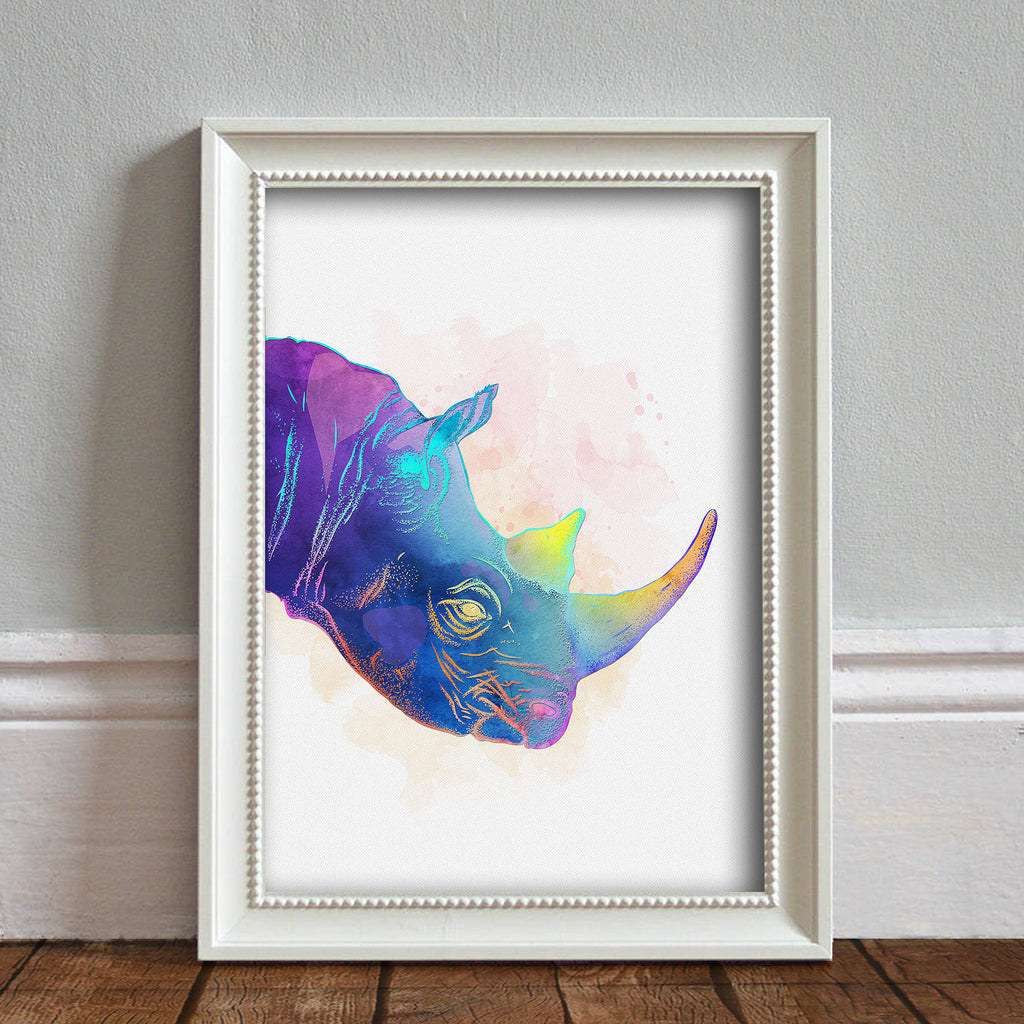 Rhinoceros Head: Watercolour Print For Nursery, Home Decor - Africa Animal Illustration Series