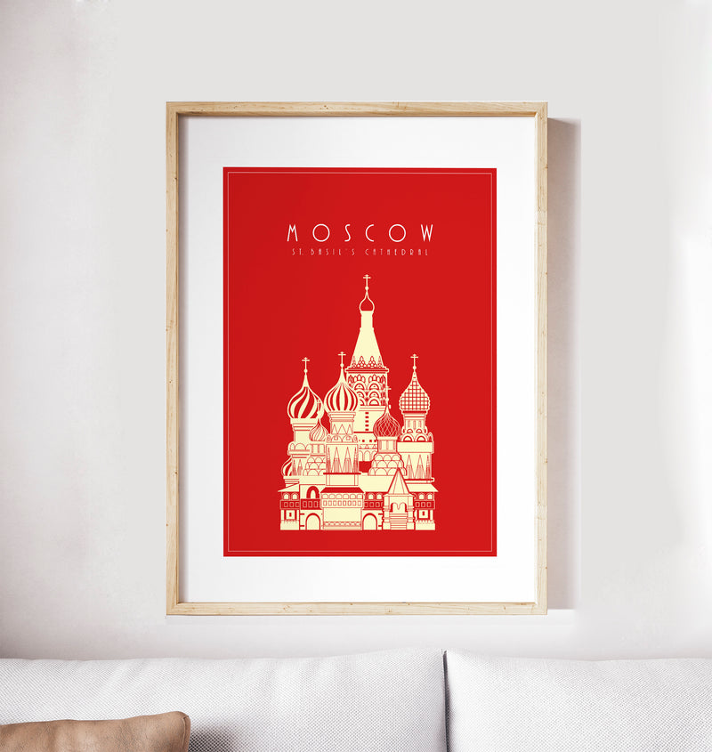 Moscow,Vasily, Saint Basil's Cathedral: Travel Poster, World Landmarks Print