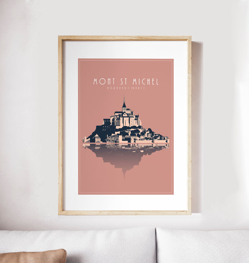 Mont Saint Michel, France: Travel Poster, World Landmarks Print