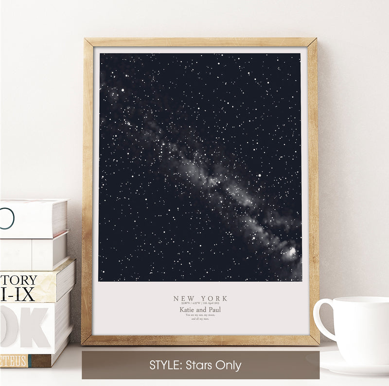 Custom Star Map Print, Night Sky Print, Star Chart Poster or Canvas - Anniversary Gift - DEEP BLUE SQUARE