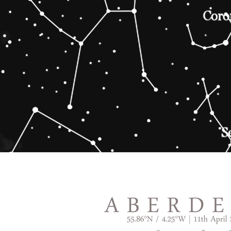 Custom Star Map Print, Night Sky Print, Star Chart Poster or Canvas - Anniversary Gift - DEEP BLACK SQUARE