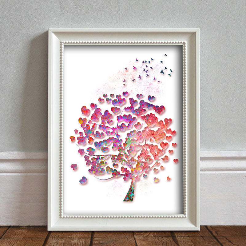 Tree Watercolor Rainbow Hearts: Watercolour Print For Nursery, Home Décor - Spash Art Series