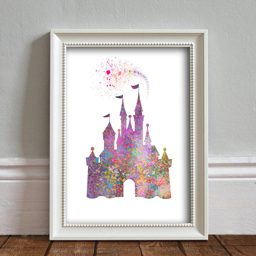 Disney Inspired Castle: Watercolour Print For Nursery, Home Decor - Spash Art Set