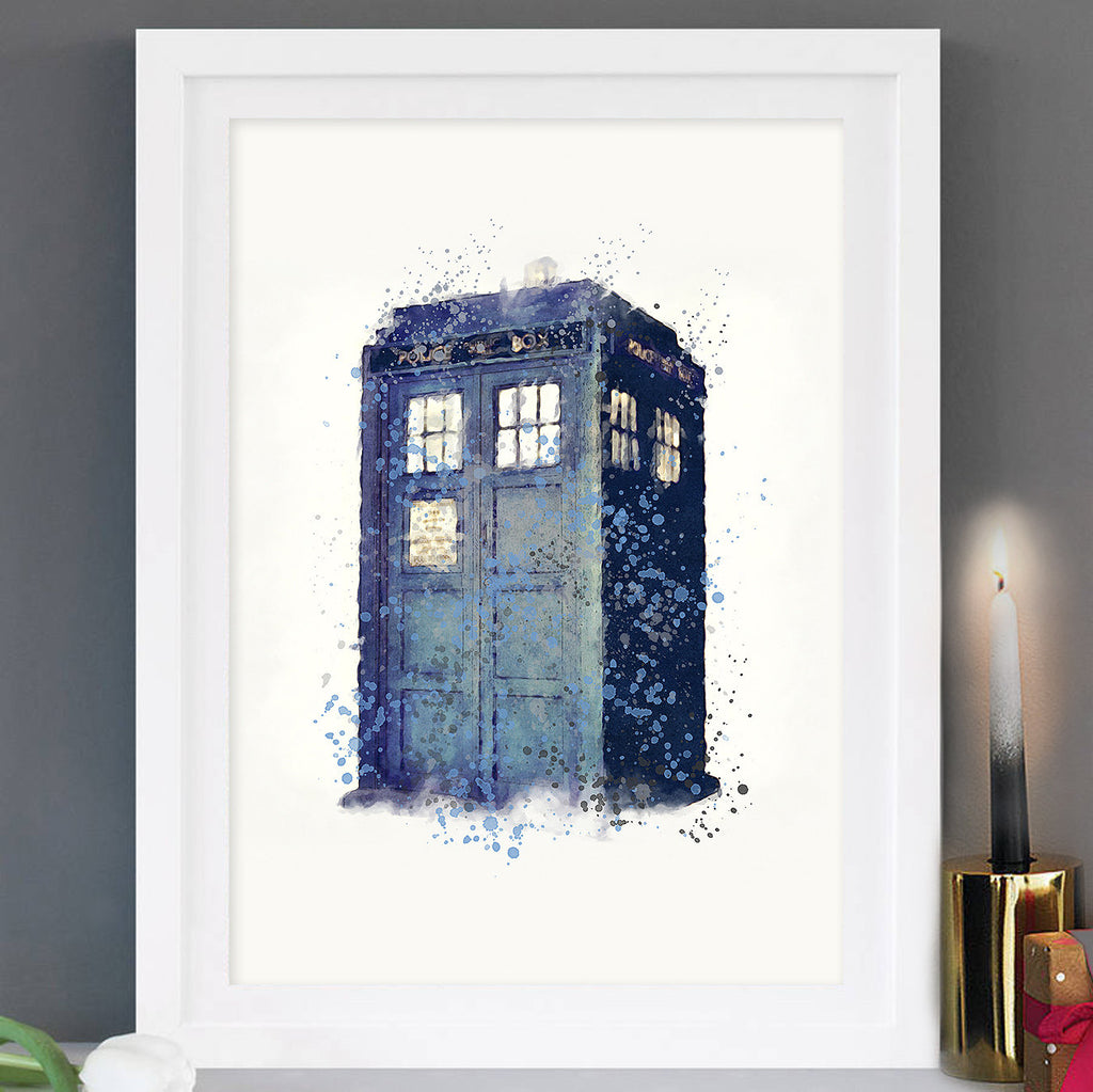 Tardis, Dr Who: Watercolour Print For Nursery, Home Décor - Illustration Series