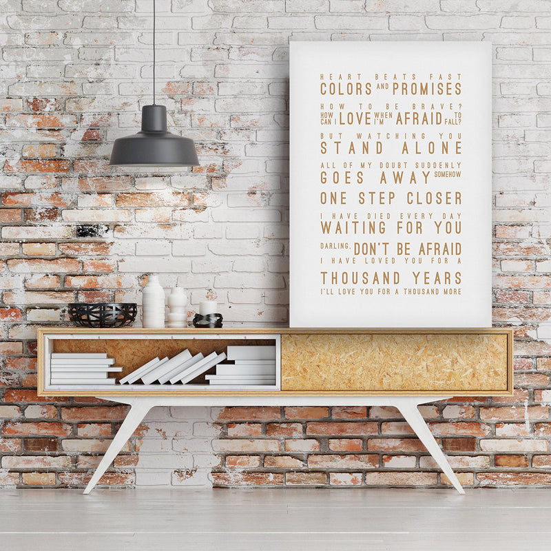 Christina Perri A Thousand Years (US English) Inspired Lyrics Typography Print