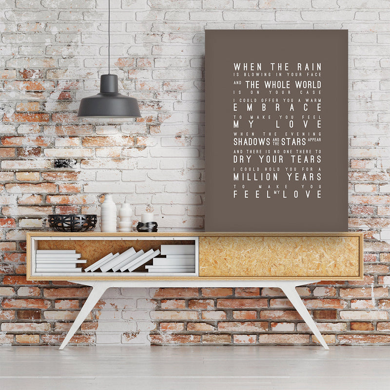 Adele Make You Feel My Love Inspired Lyrics Typography Print