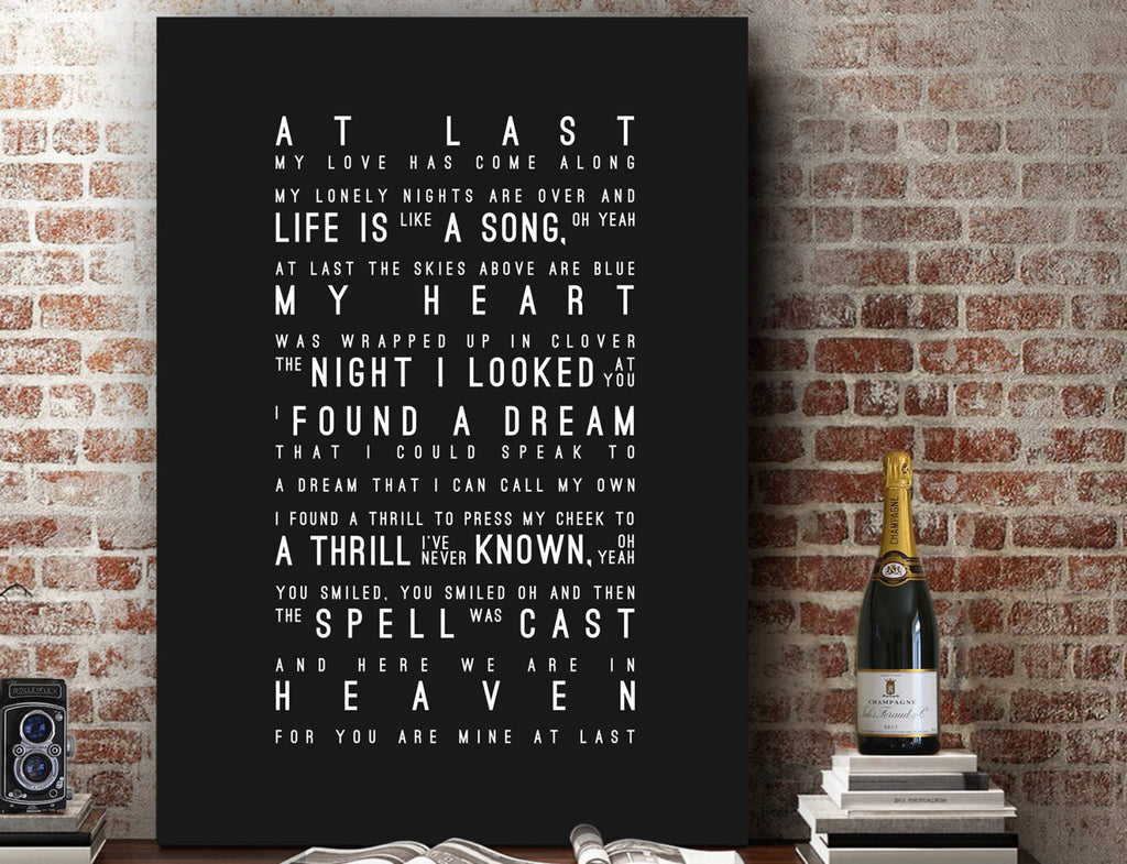 Etta James At Last Inspired Lyrics Typography Print
