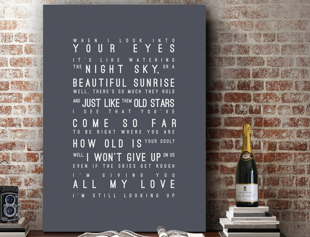 Jason Mraz I Won't Give Up Inspired Lyrics Typography Print