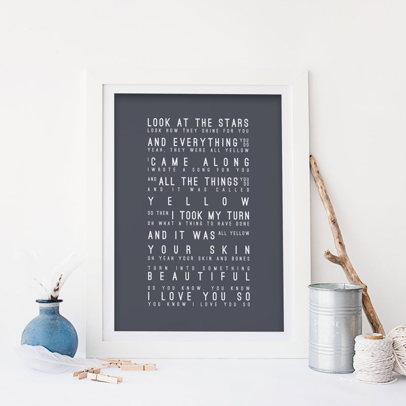 Coldplay Yellow Inspired Lyrics Typography Print