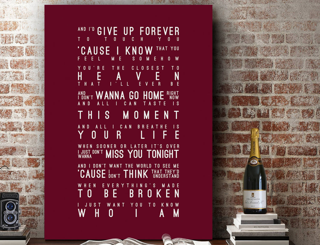 Goo Goo Dolls Iris Inspired Lyrics Typography Print