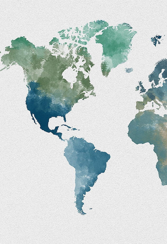 World Map: Watercolor Illustration Wall Art