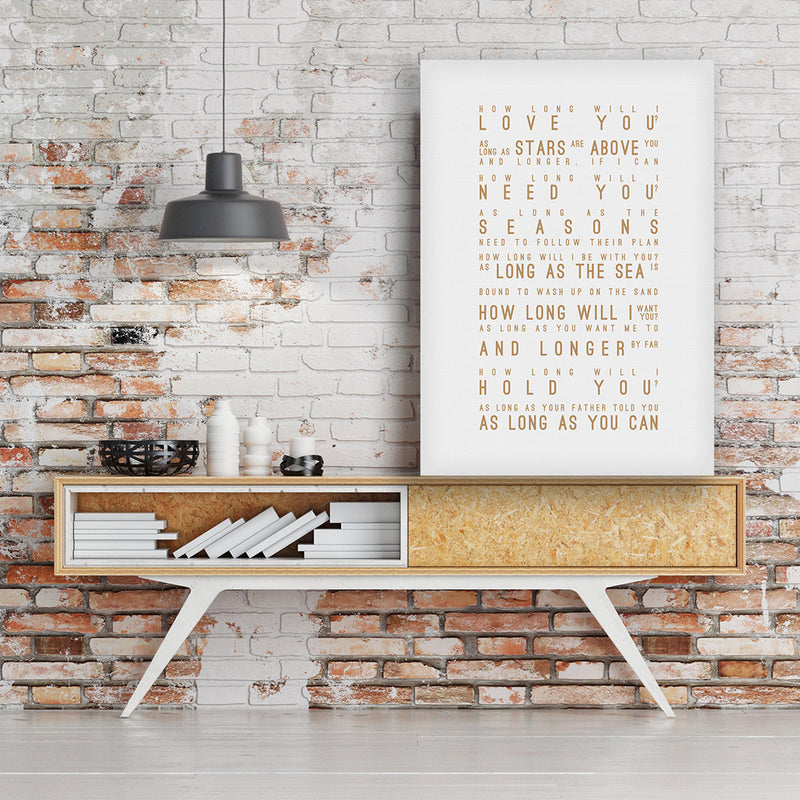 Ellie Goulding How Long Will I Love You Inspired Lyrics Typography Print