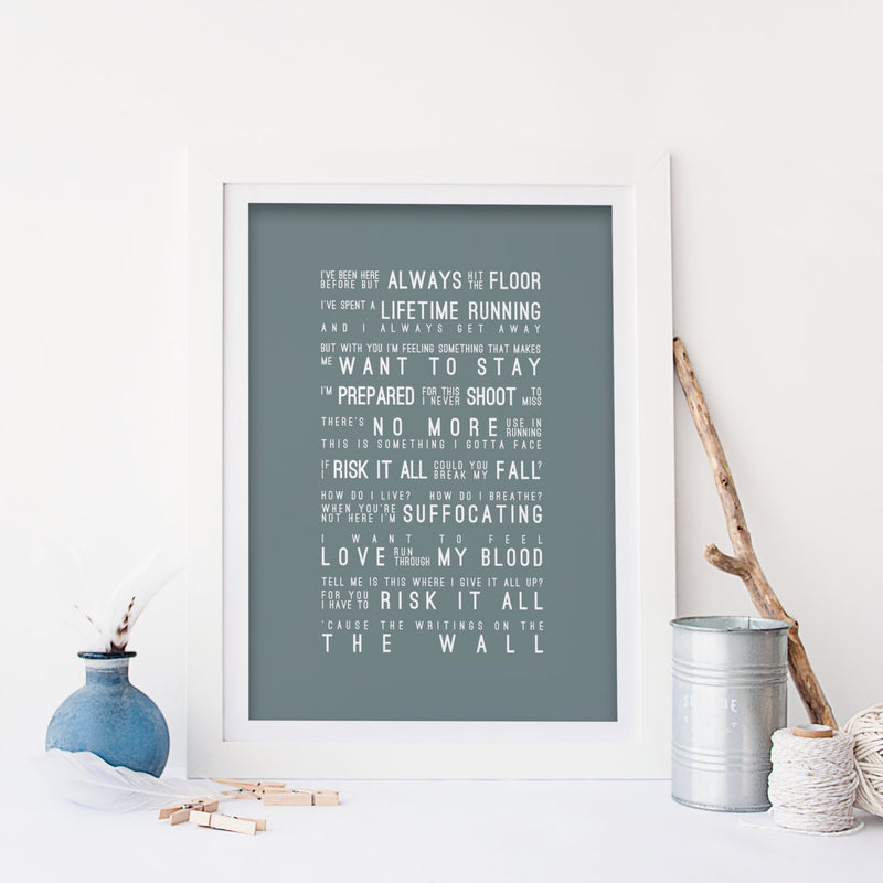 Sam Smith Writing's On The Wall Inspired Lyrics Typography Print