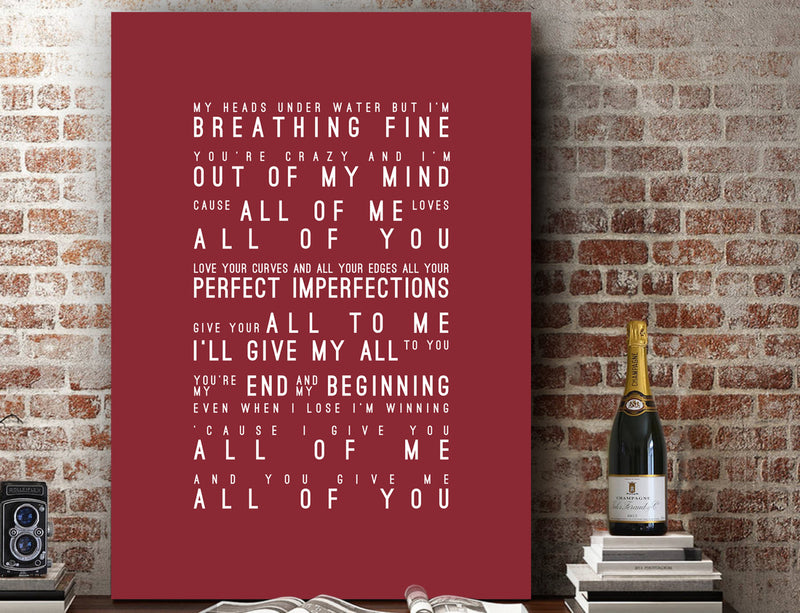John Legend All Of Me Loves All Of You Inspired Lyrics Typography Print