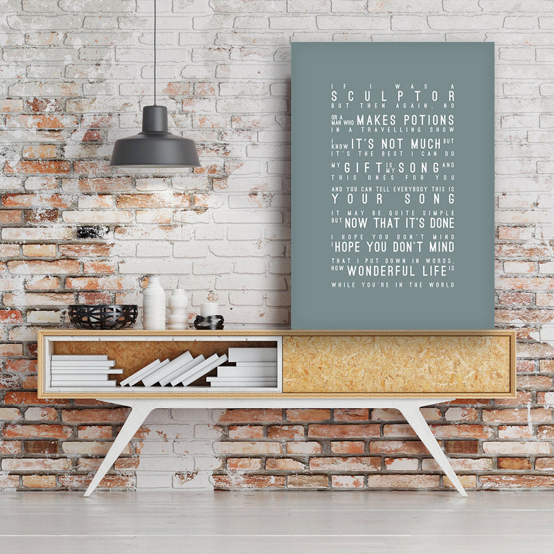 Elton John Your Song Inspired Lyrics Typography Print