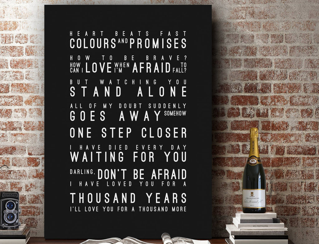 Christina Perri A Thousand Years (UK English) Inspired Lyrics Typography Print