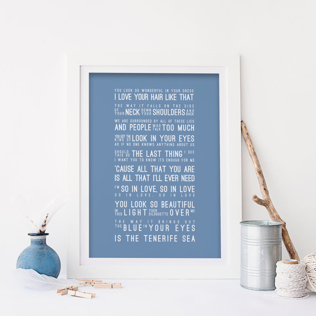 Ed Sheeran Lyrics Tenerife Sea Inspired Lyrics Typography Print