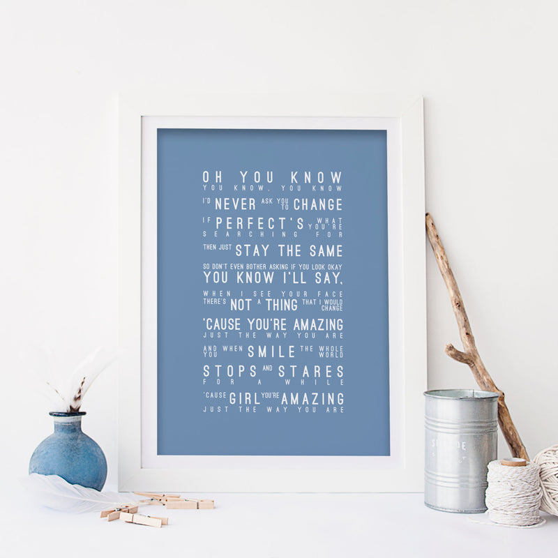 Bruno Mars Just The Way You Are Inspired Lyrics Typography Print