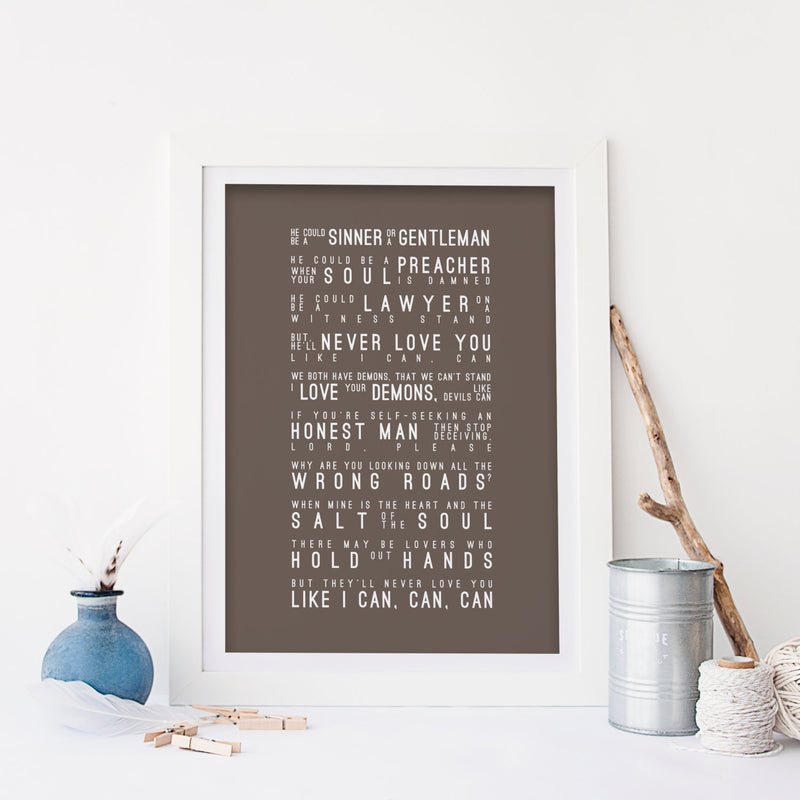 Sam Smith Like I Can Inspired Lyrics Typography Print