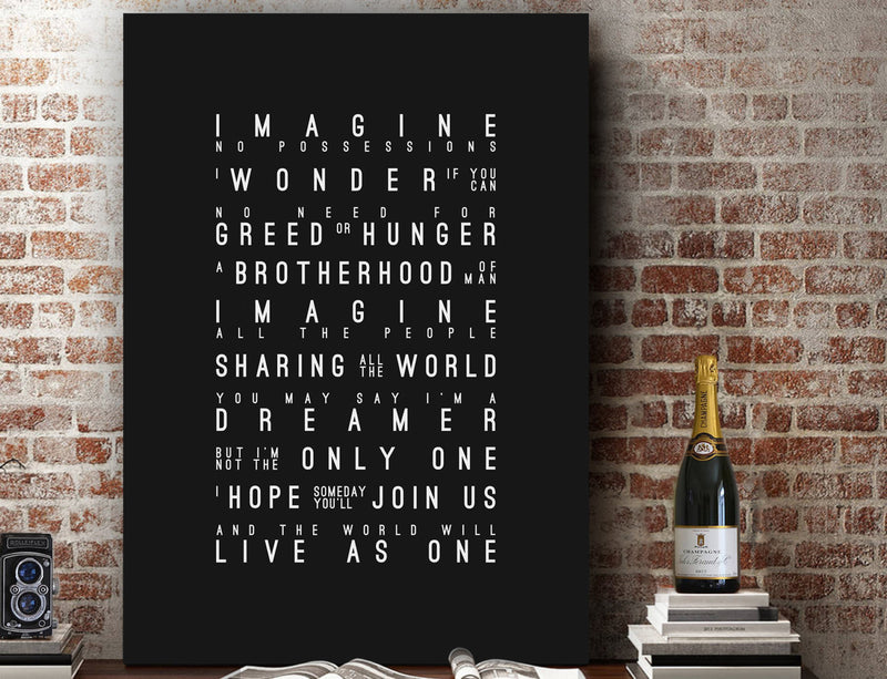 John Lennon Imagine Inspired Lyrics Typography Print