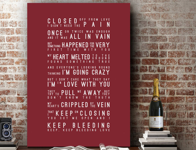 Leona Lewis Bleeding Love Inspired Lyrics Typography Print