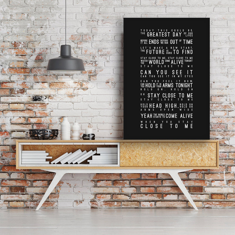 Take That Greatest Day Inspired Lyrics Typography Print
