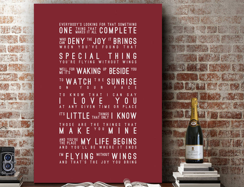Westlife Flying Without Wings Inspired Lyrics Typography Print