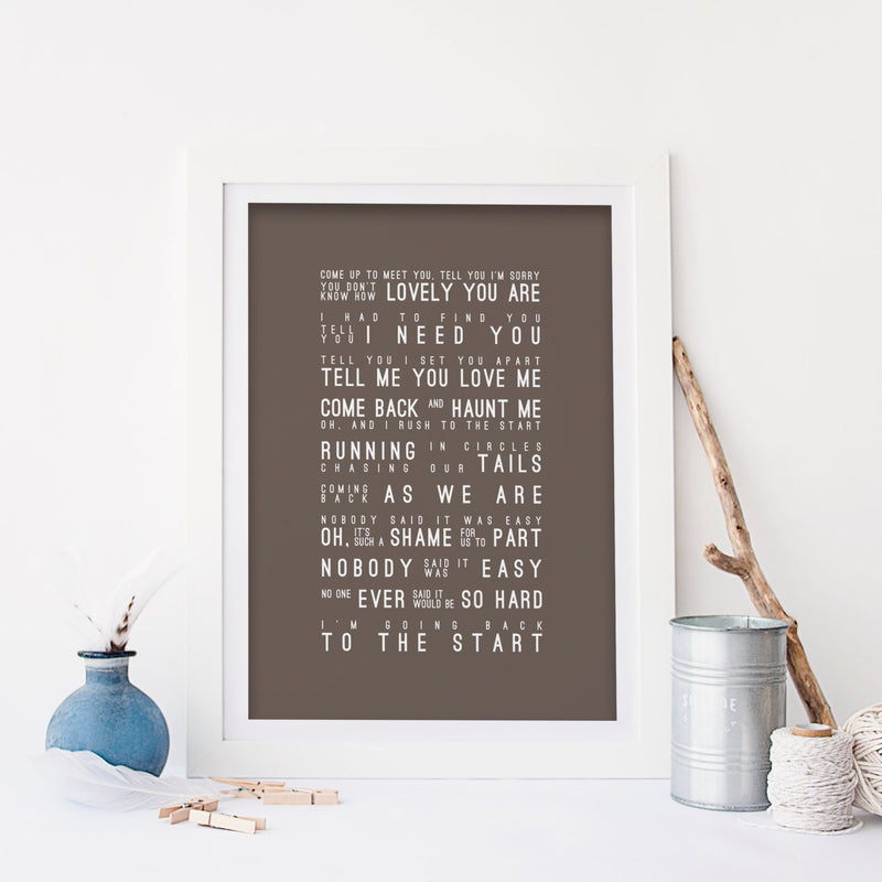 Coldplay The Scientist Inspired Lyrics Typography Print