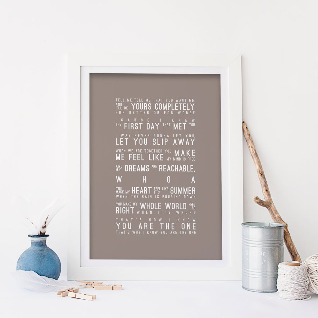 Kodaline The One Inspired Lyrics Typography Print