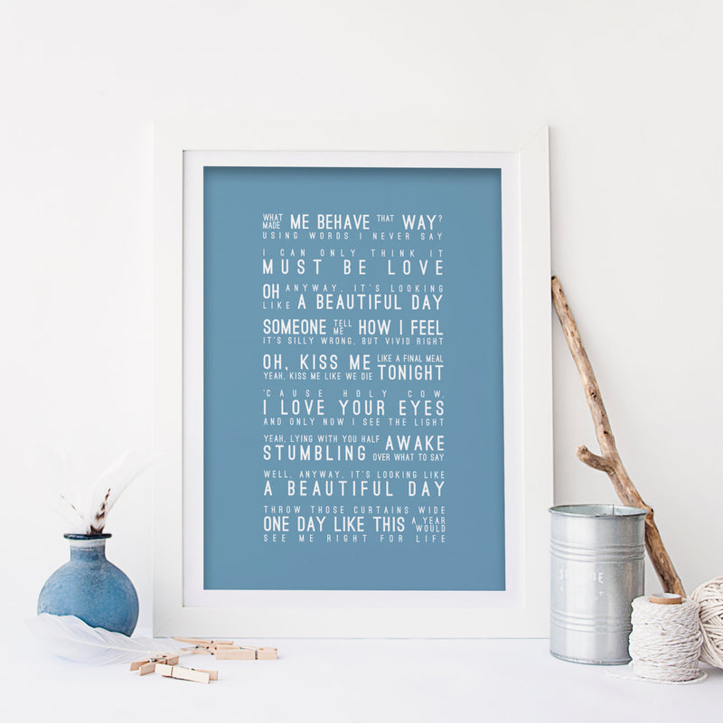 Elbow One Day Like This Inspired Lyrics Typography Print