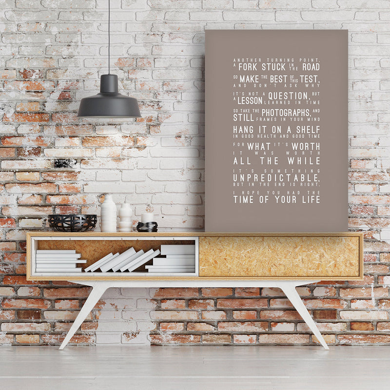 Green Day Good Riddance Time of Your Life Inspired Lyrics Typography Print