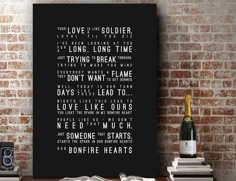 James Blunt Bonfire Heart Inspired Lyrics Typography Print