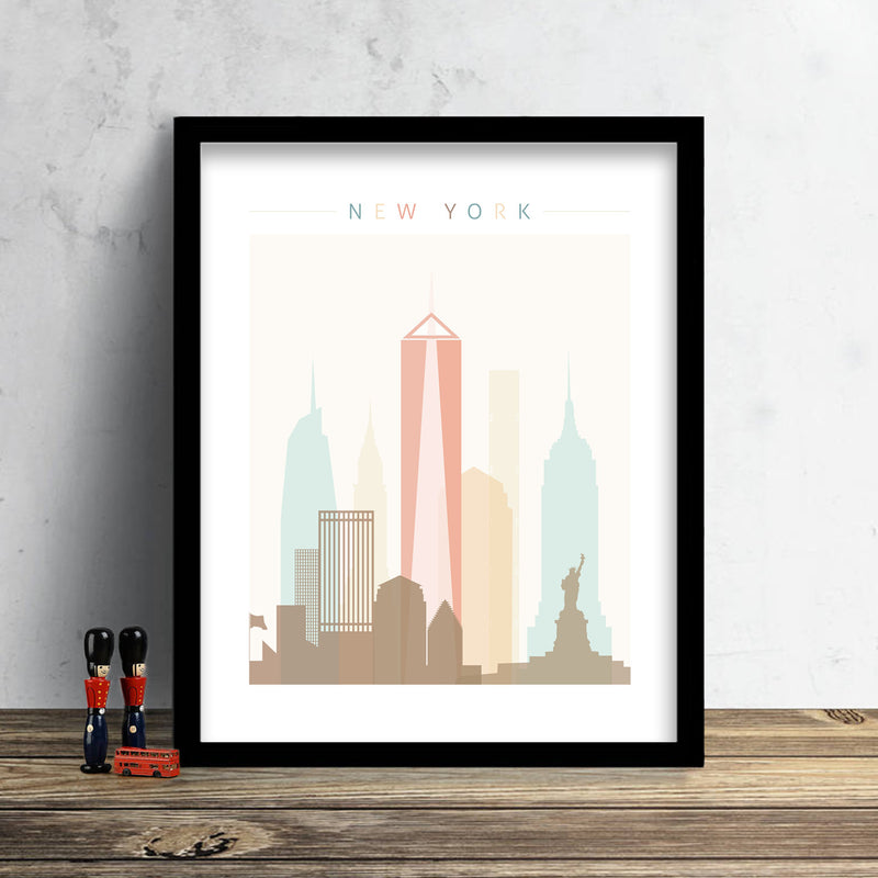 New York Skyline: Cityscape Art Print, Home