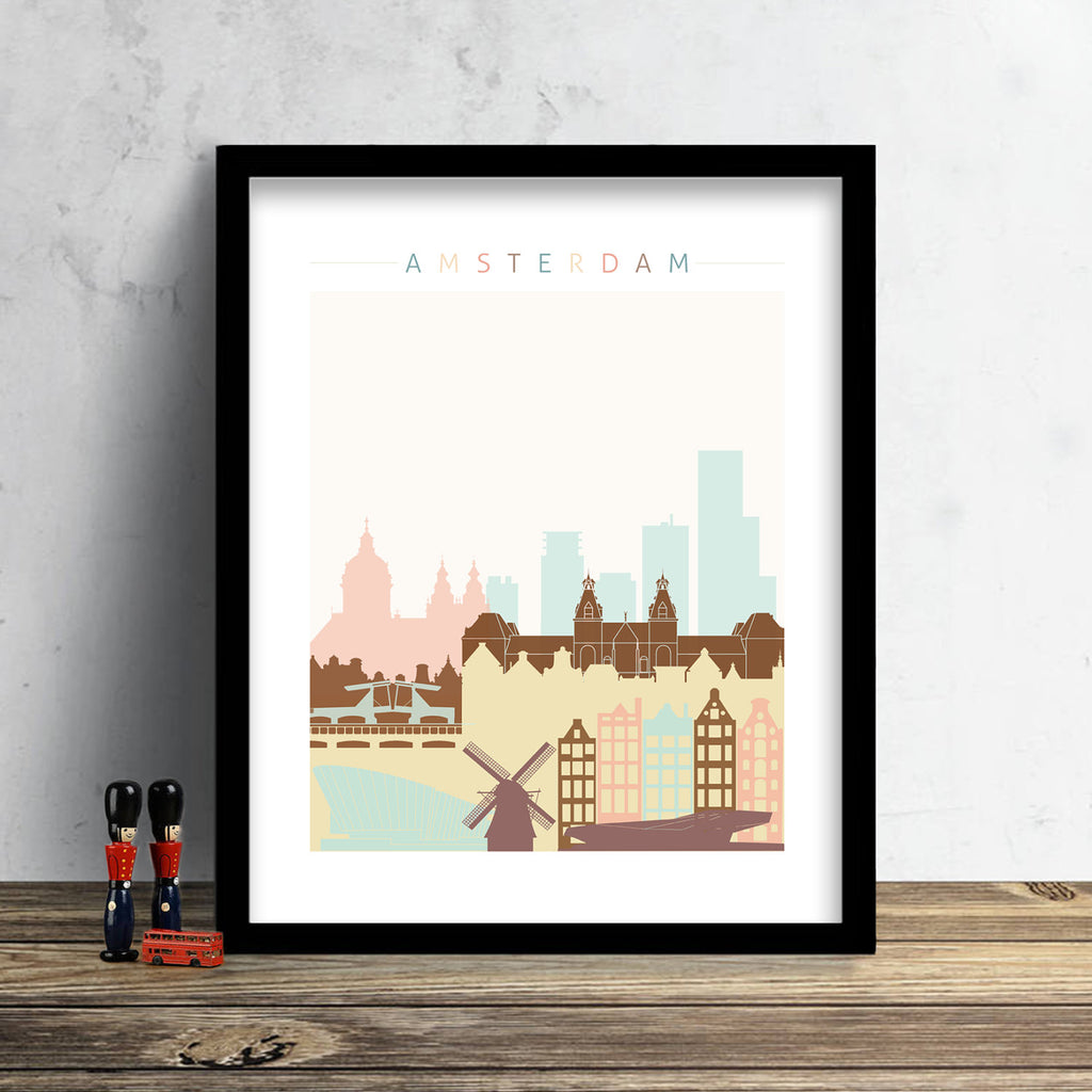 Amsterdam Skyline: Cityscape Art Print, Home Decor