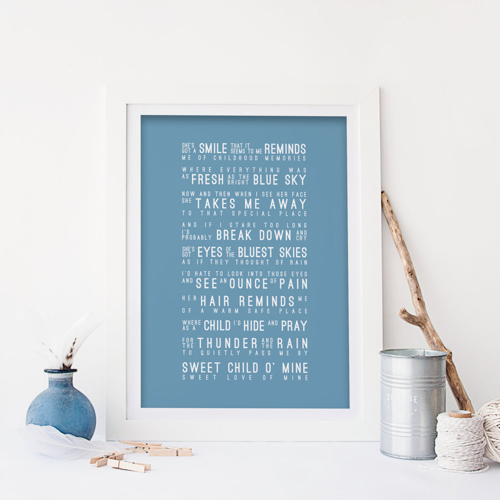 Guns N' Roses Sweet Child O' Mine Inspired Lyrics Typography Print