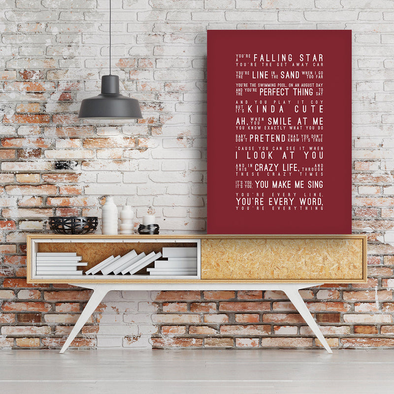 Michael Buble Everything Inspired Lyrics Typography Print