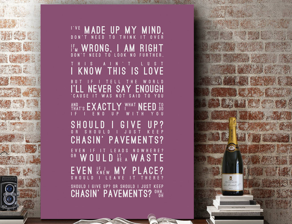 Adele Chasing Pavements Inspired Lyrics Typography Print