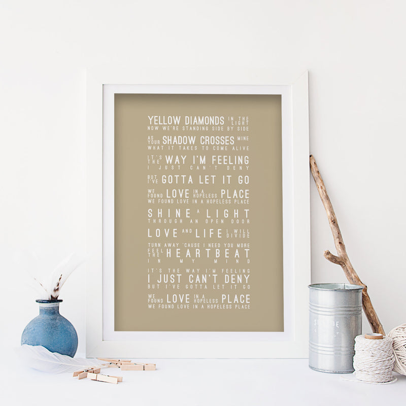 Rihanna We Found Love Inspired Lyrics Typography Print