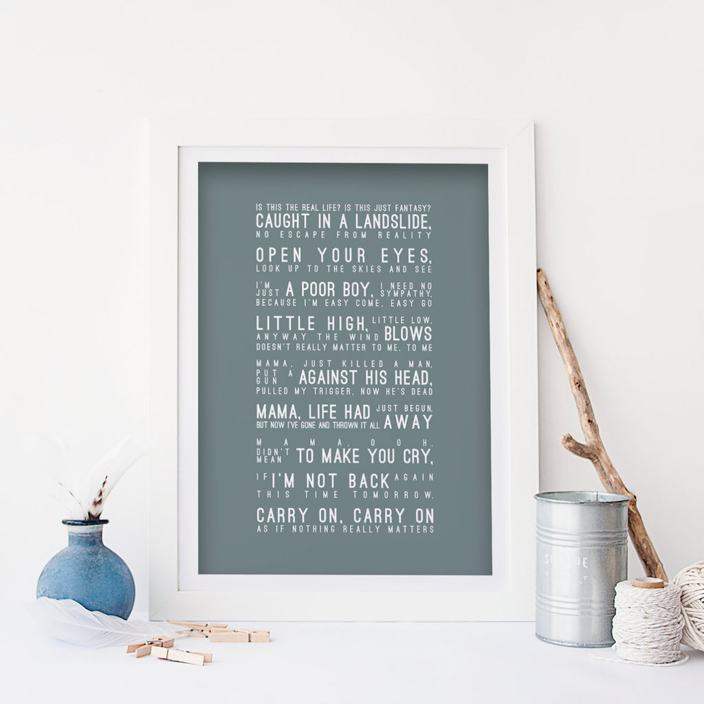 Queen Bohemian Rhapsody Inspired Lyrics Typography Print