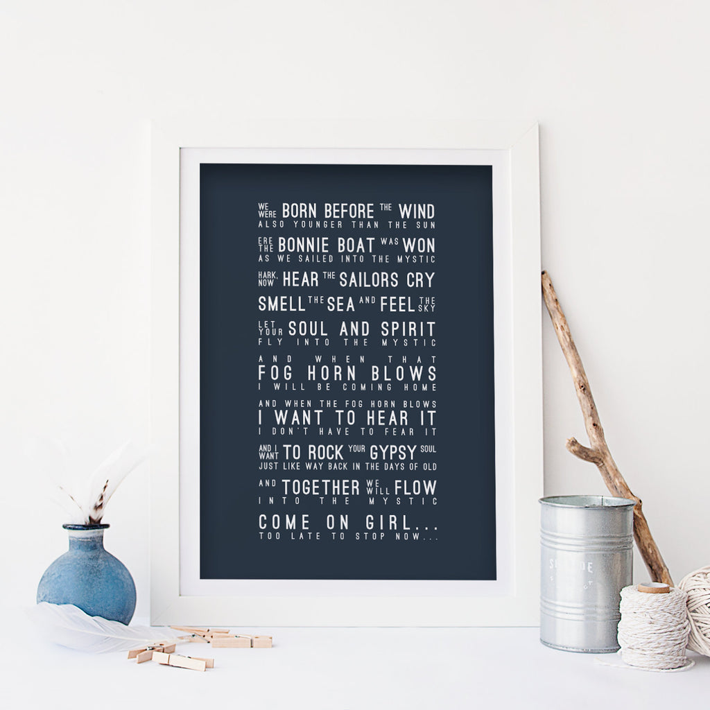 Van Morrison In To The Mystic Inspired Lyrics Typography Print
